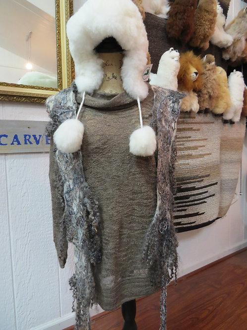 Alpaca Fur Hat with Pom-Pom Tassels