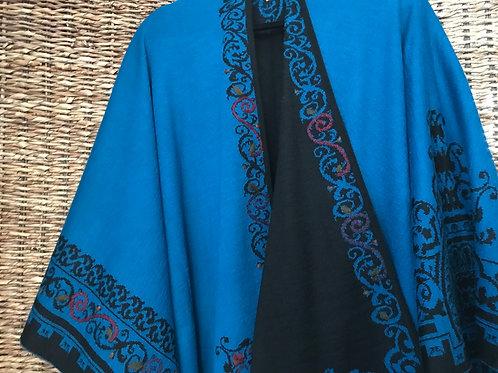 Ocean Blue/Black Embroidered Alpaca Ruana