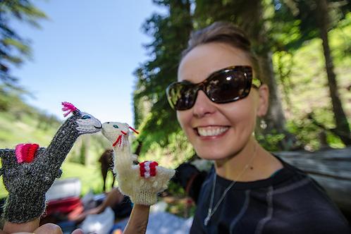 Hand-Knit Finger Puppets - Alpacas