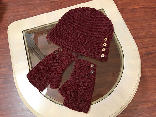 Knit Alpaca Fingerless Gloves with Wood Grain Accent Buttons