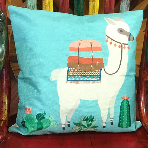 Throw Pillow Cover with Alpaca Design