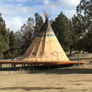 Indian Ponies Tipi - with galloping mustang horses