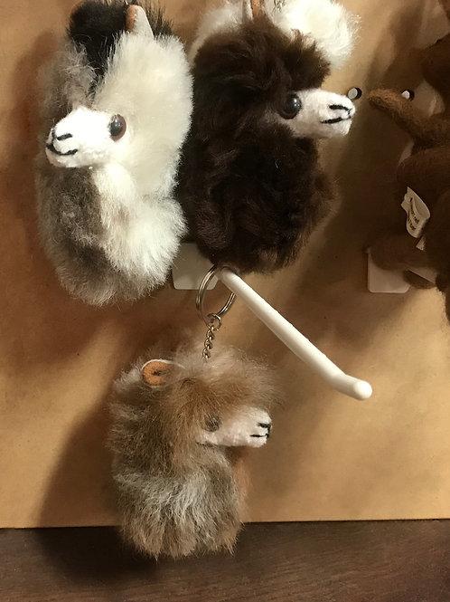 Alpaca Head Fur Keychain