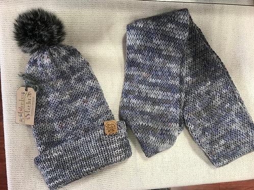 Blue Pom-Pom/Plain Hat or Matching Infinity Scarf