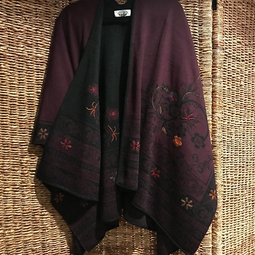 Reversible Plum/Black Alpaca Ruana