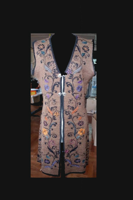 Floral Embroidered Reversible Alpaca Vest