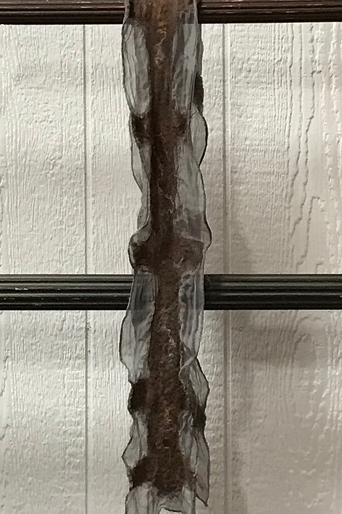 Silver Smoke Silk with Brown & Black Felted Accents Scarf