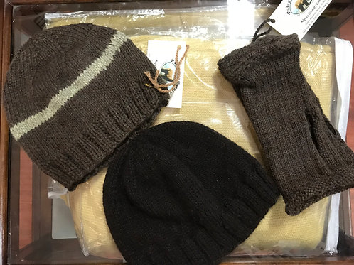 Brown Alpaca Hat and Fingerless Gloves