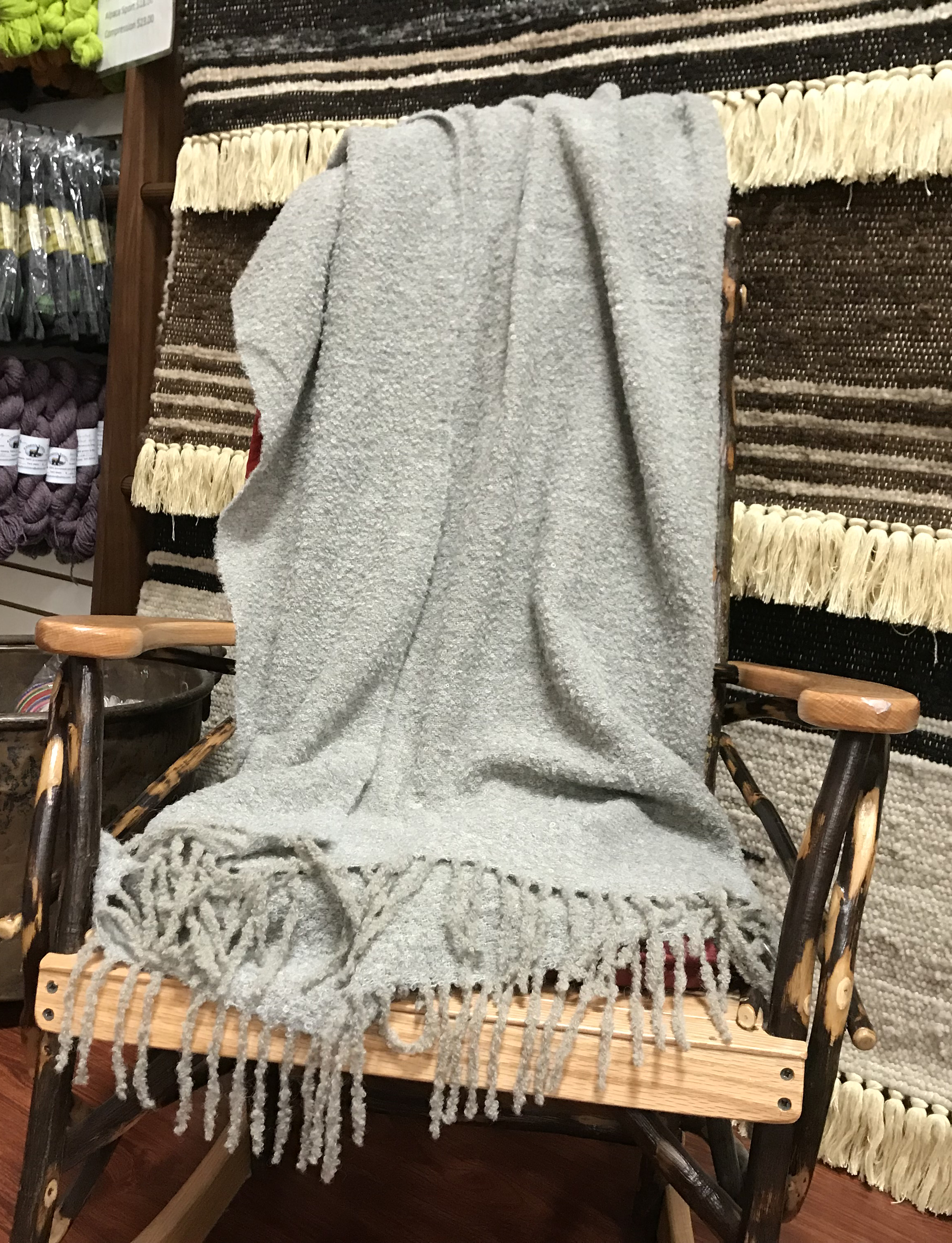 Blanket-Alpaca Peruvian Throw - Light Gr
