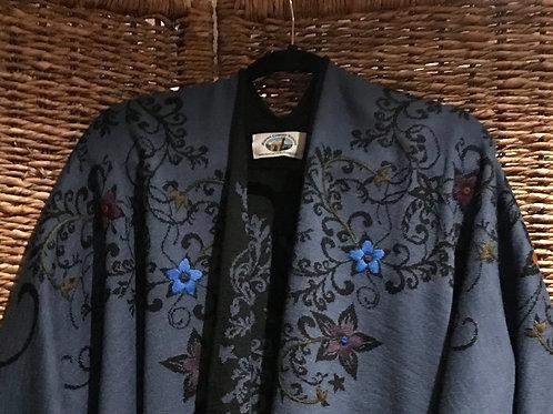Sky Blue/Black Embroidered Reversible Alpaca Ruana