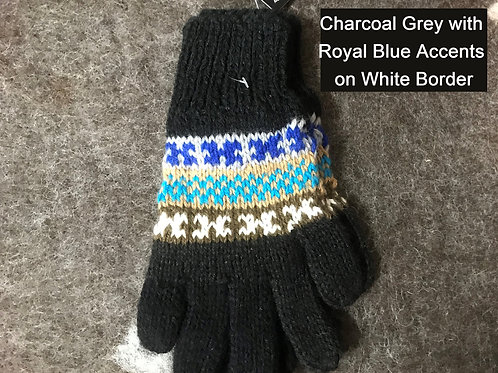 Bright Peruvian Mittens in Geometric Design - Shades of Grey