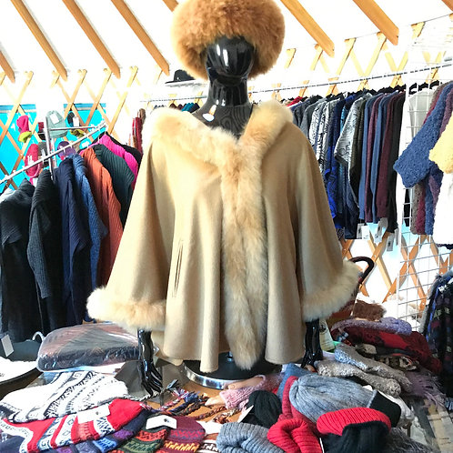 Hooded Alpaca Cape with Fur Trim