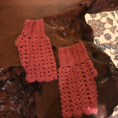 Hand-Crocheted Fancy Salmon Fingerless Gloves