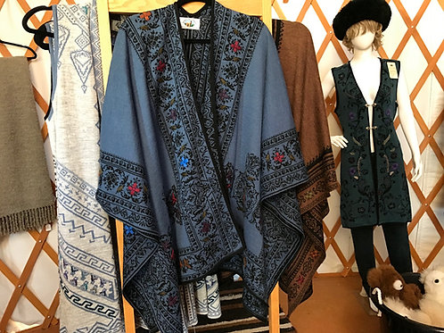 Embroidered Medium Blue/Black Reversible Alpaca Ruana