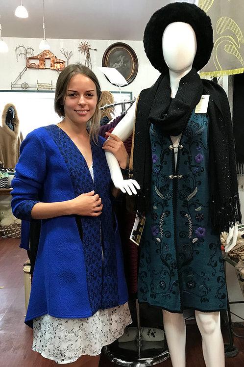 Royal Blue Alpaca Coat