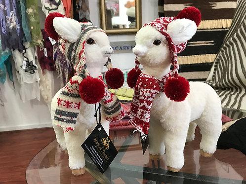 Alpaca Buddies with Peruvian Chullo Hat and Scarf