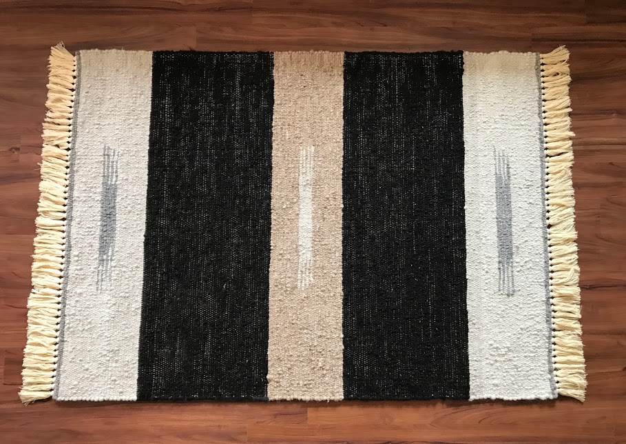 Rug 4 - Banded Indian Print  White, Blac
