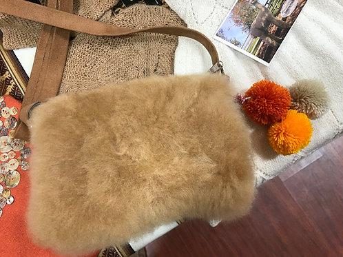 Alpaca Fur Purse with Colorful Pom-Poms