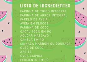 Lista de ingredientes para os lanchinhos