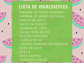 Lista de ingredientes para os lanchinhos