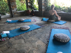 Yin yoga in the pergola
