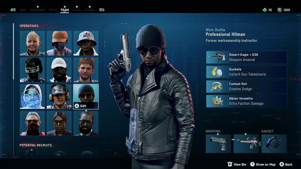Operative selection screen