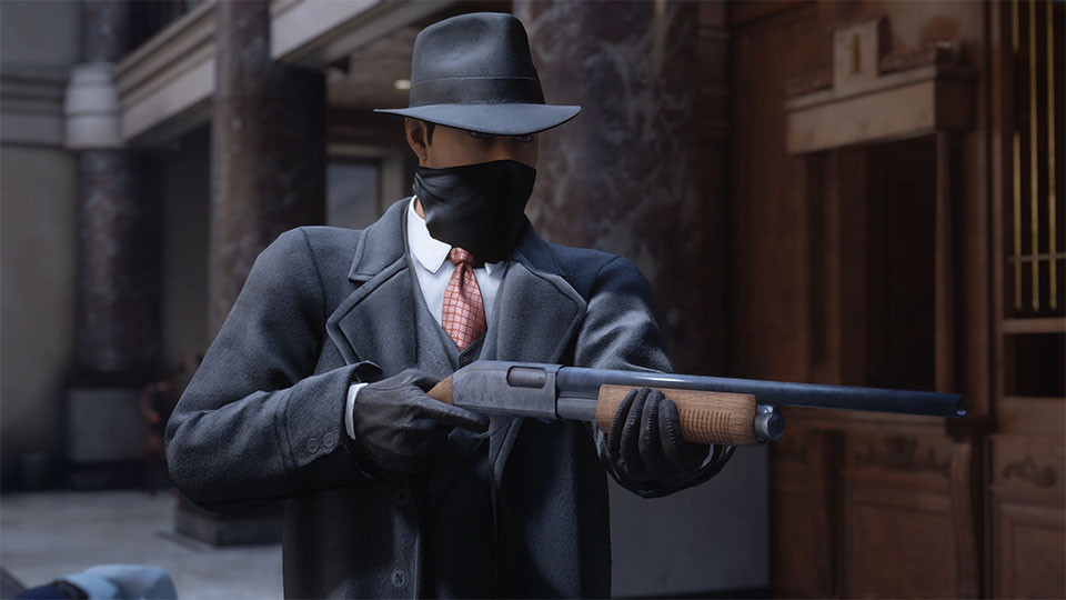 Tommy wearing a mask in a bank while pointing a shotgun