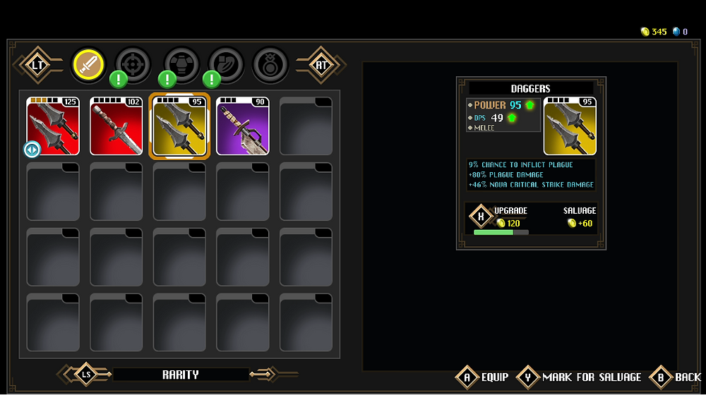 Weapon inventory with the dagger being upgraded with gold