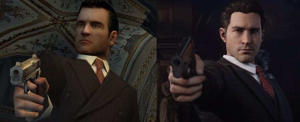 Comparison photo of Tommy pointing his gun from original Mafia 1 and Mafia 1 Definitive Edition