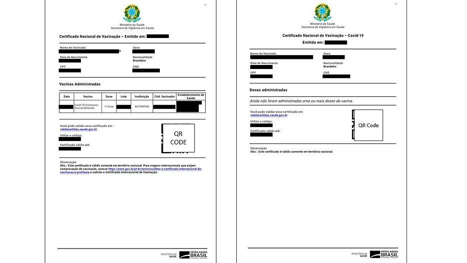 certificado de vacina no Brasil 1 dose a