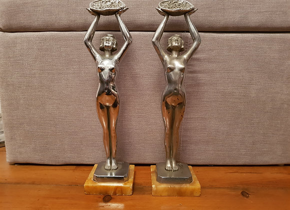 Pair of Chrome Limousin Statues