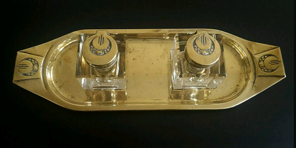 Brass Double Inkwell and Tray
