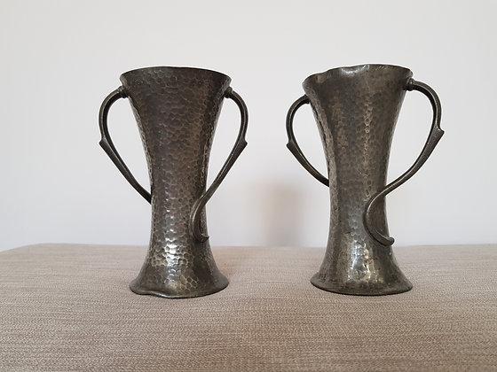 Pair of Art Nouveau Pewter Vases