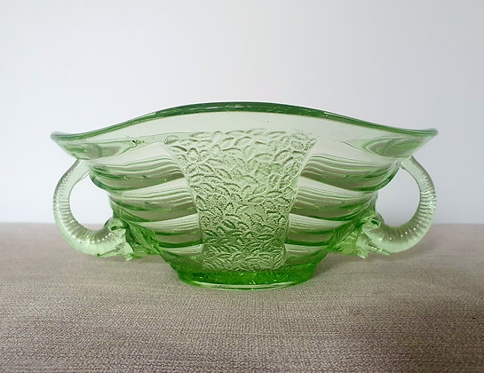 Art Deco Sowerby Elephant Bowl Green Glass 1930s for sale UK