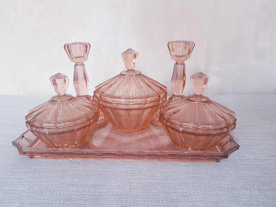 Pink Glass Dressing Table Set
