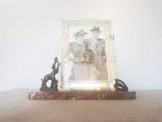 French Deer Marble Photo Frame