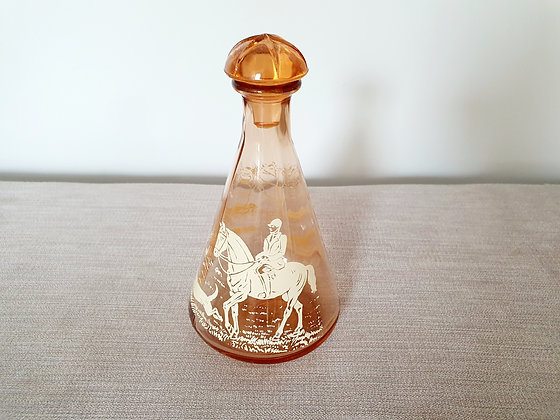 Peach Glass Decanter with Horse & Hounds