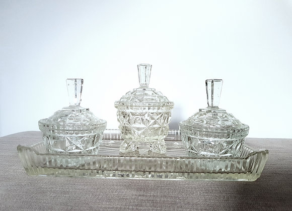 Clear Glass Dressing Table Set