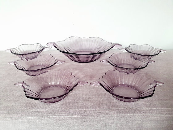 Purple Glass Dessert Set