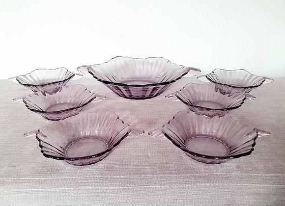 Purple Glass Dessert Set