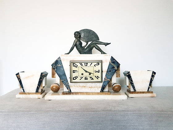 French Marble Clock Garniture with Lady