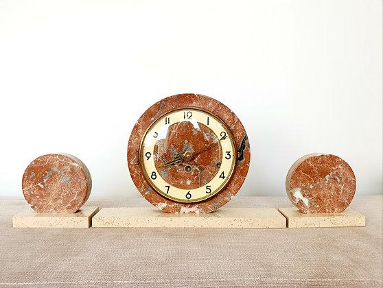 Circular Marble Clock Garniture
