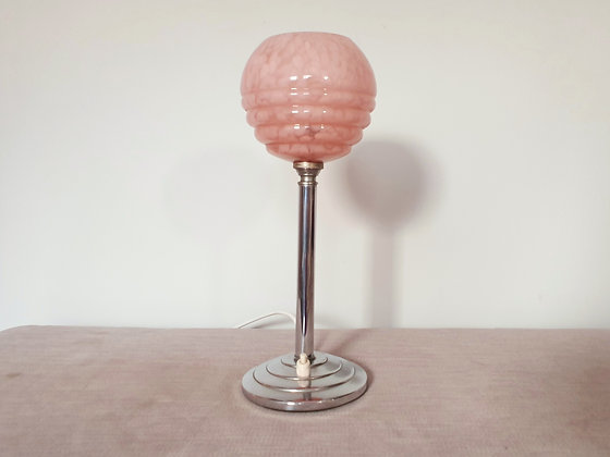 Chrome Lamp with Pink Glass Uplighter