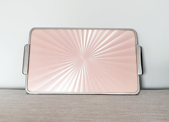 Pink Guilloche & Chrome Tray