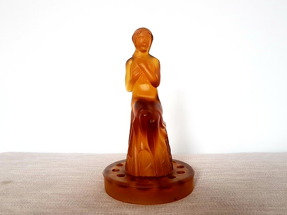 Amber Glass Seated Lady Centrepiece