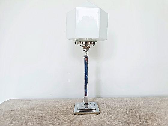 Chrome Lamp with Hexagonal White Shade