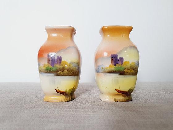 Pair of Noritake Handpainted Vases