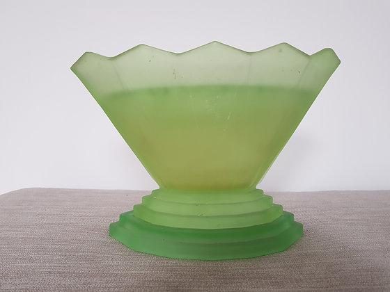 Bagley Wyndham Uranium Glass Vase, Frog & Plinth