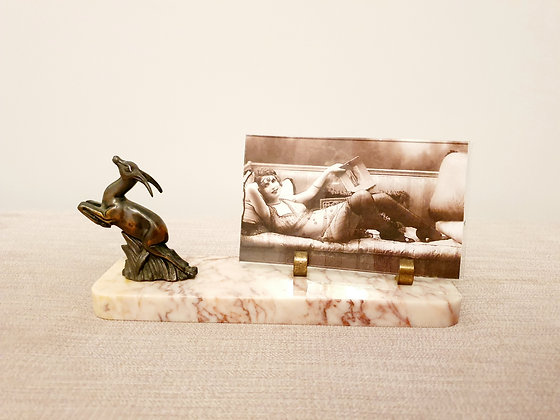 Small Leaping Gazelle Marble Photo Frame