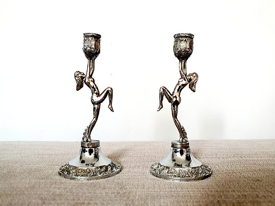 Pair of Miniature Lady Candlestick Holders